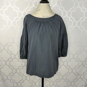 Jigsaw Gray Elbow Balloon Sleeve Peasant Top